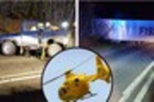 a37 shepton mallet crash sees driver airlifted to hospital as dog...
