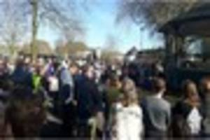 protesters against plans for gnosall rabbit farm gather in...
