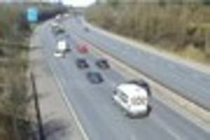lane closure on m11 causing delays between harlow and bishops...