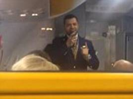 passengers cringe as ryanair steward cracks awkward jokes