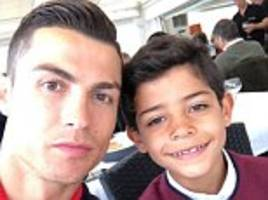 Portugal star Cristiano Ronaldo enjoys lunch with his son