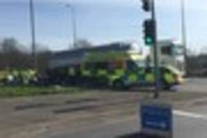 a38 partially closed near little eaton roundabout due to accident...