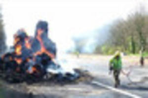 M5 closure: Fire crews need specialist equipment to tackle lorry...