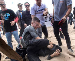 pepper-spraying anti-donald trump demonstrators brawl with pro-trump marchers in southern california: authorities