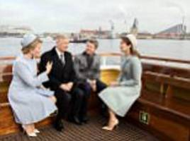 Queen Mathilde greeted by Crown Princess Mary in Denmark