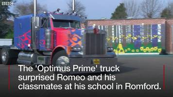 World Book Day 'Transformers boy' gets special visit