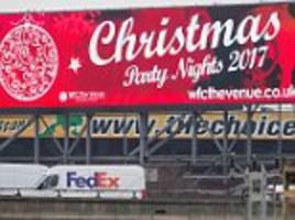 drivers baffled by sign advertising christmas parties