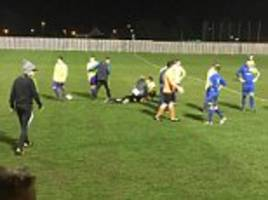 eastway football supporter pushes referee to the ground