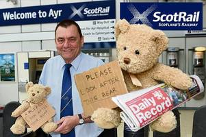 missing teddy called bare lost on train tracked down after daily record and scotrail join hunt
