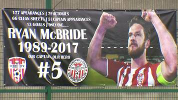 tributes to captain ryan mcbride at derry city match