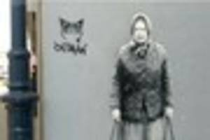 whitstable's 'banksy' artist's new street art imagines the queen...