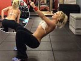 britney spears slips into bikini top as she works out