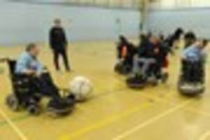 powerchair football teams go head-to-head in aid of charity