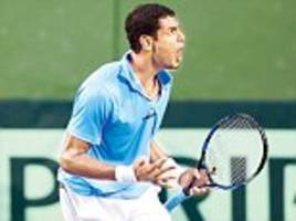 prajnesh happy with debut as india up at davis cup