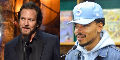 "rock hall 2017: eddie vedder thanks chance the rapper for ""great work"" in chicago"