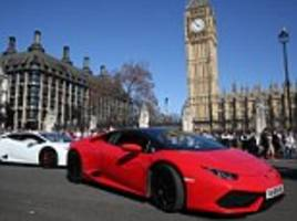 supercars drive in london in tribute to terror victims