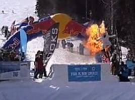 man set himself on fire and skied down a hill to win £280