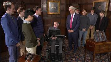 university challenge: professor stephen hawking presents winners' trophy