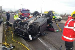 cambridgeshire police releases shocking video of drink driver whose car flips over roundabout with 19-month-old son inside