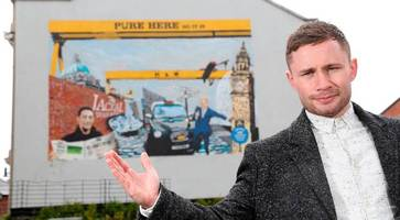 carl frampton unveils mural featuring belfast's best-known symbols