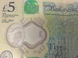 £5 notes left so tattered that the big ben rubs away