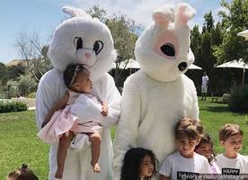 John Legend and Kanye West Clad in Bunny Costumes at the Kardashians' Easter Celebration