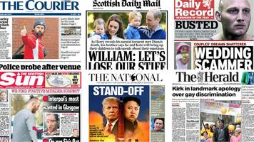 scotland's papers: kirk apology and interpol suspect 'found'