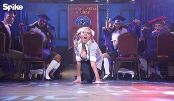 watch kate upton's busty performance as britney spears in 'lip sync battle' preview