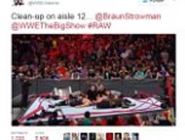 incredible moment two huge wwe stars break the ring