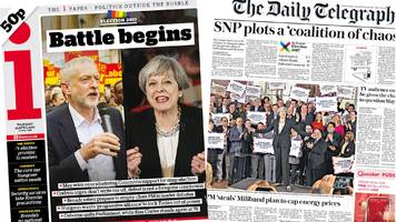Newspaper headlines: 'Battle begins' and 'coalition chaos' warning