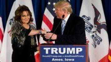 donald trump welcomes sarah palin to white house