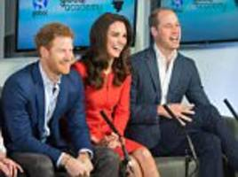 kate, william and harry visit the global academy in london