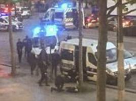 moment isis terrorist is shot by police on champs-elysees
