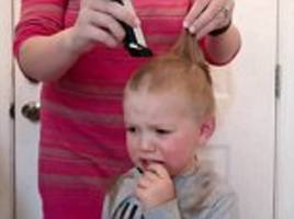 toddler has tantrum after having all his hair shaved off