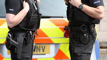 Armed police shoot out car's tyres and arrest two men