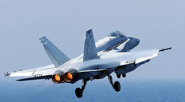 f-18 fighter jet from carl vinson carrier crashes off the philippines