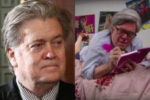 steve bannon screams at jared kushner 'i hate your stupid face!' in stephen colbert spoof (video)