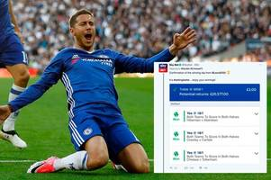 lucky punter wins £20,000 on incredible £3 accumulator bet after chelsea's fa cup win over spurs