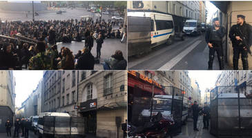live feed: french riot police clash with far left protesters in central paris