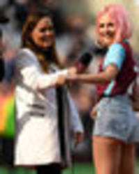Sexy Pixie Lott flashes bum during West Ham half-time performance