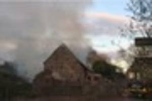 blaze tore through grade ii listed barn and 20 metres of fencing