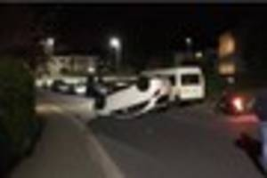 woman arrested for drink-driving after flipping car onto its roof...