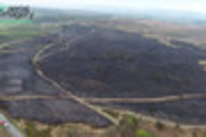 Dramatic drone footage shows devastating effect of huge fire