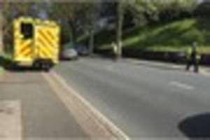 motorcyclist suffers leg injury after collision with car in...