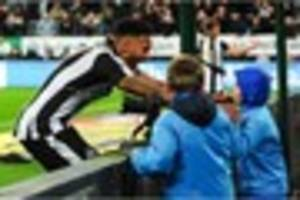 derby-born defender celebrates after leading newcastle back to...