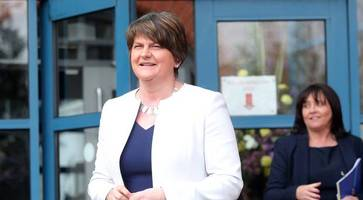Arlene Foster says thank you in Irish during school visit