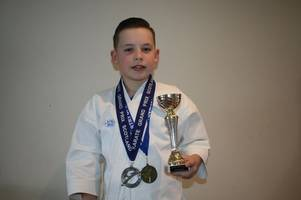 Stewartry Karate Club's Aeron Greenland in the medals at competitions in Wishaw, Darlington and Kirkcudbright