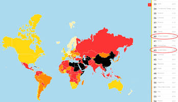 us, uk both drop in latest 'world press freedom index' rankings