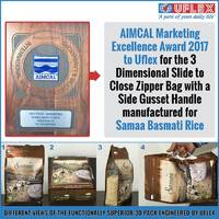 AIMCAL Marketing Excellence Award 2017 to Uflex for 3 Dimensional Slide to Close Zipper Bag with a Side Gusset Handle
