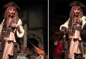 mechanical jack sparrow is replaced with the real life johnny depp on pirates of the caribbean